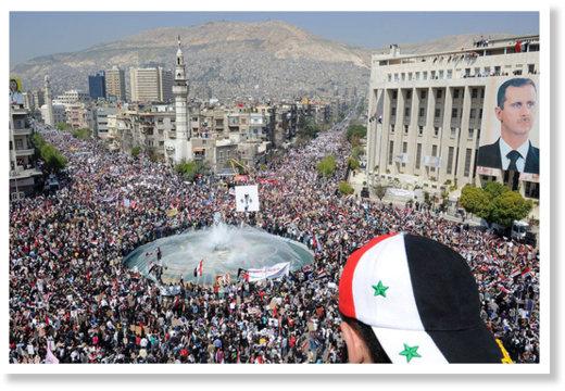 Демонстрация в поддержку правительства в Дамаске, март 2011 г.