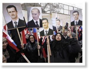 Граждане Сирии митингуют в поддержку как Асада, так и Путина, сентябрь 2015 г.