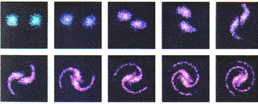 Рис. 23: Симуляция формирования галактики с помощью суперкомпьютера Энтони Перратом, основывающаяся на взаимодействии заряженных частиц.