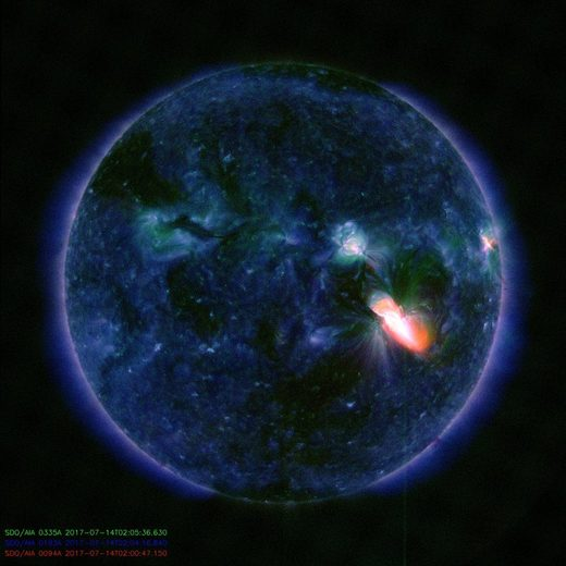 solar flare eruption July 14, 2017