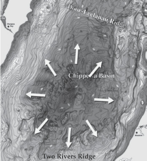 A potential impact location: the Chippewa Basin in Lake Michigan