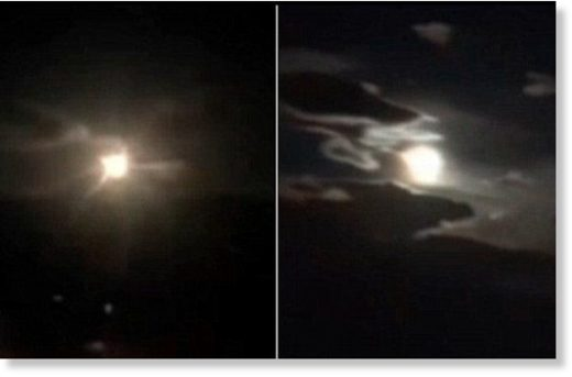 Fast and powerful: The fireball apparently overpowered the brightness of the full moon as it travelled across the sky over Yunnan Province, south-west China, at a great speed