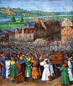 Взятие Иерихона, Жан Фуке (масло, примерно 1450 г.)