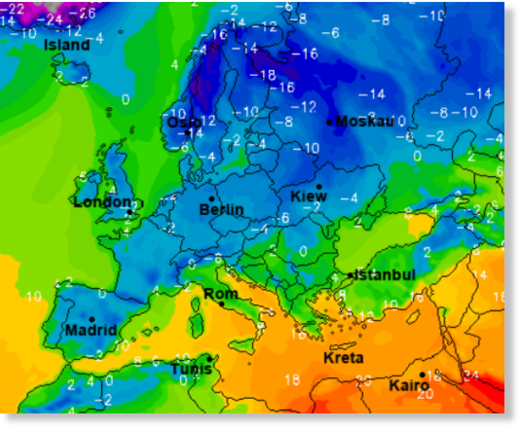 Cold is forecast to keep Europe shivering this week. Image cropped from wetter.online.de.