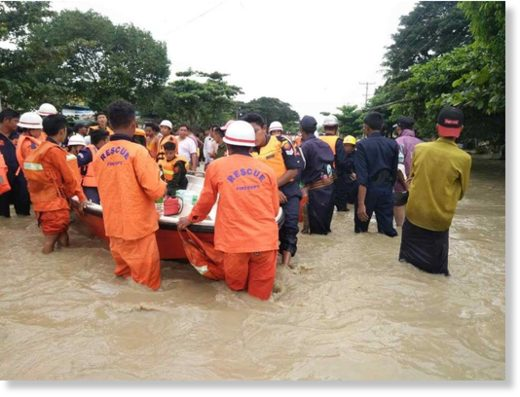 Rescues and evacuations in Bago Region after a dam breach, August 2018.