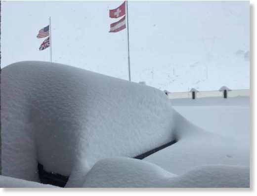 Passio Stelvio in Italy received a metre of snow when a huge snow storm hit the Alps