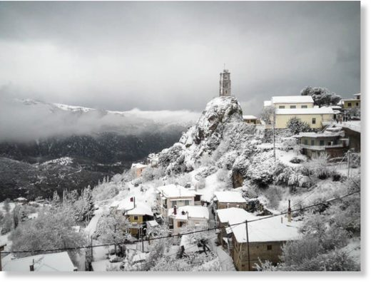 snow greece