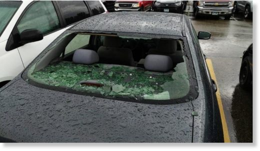 Hail damage in Brooklyn Park