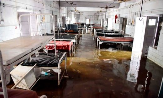 A waterlogged ward in a hospital in Patna, capital of Bihar, after vast areas of the state were inundated by delayed monsoon rains